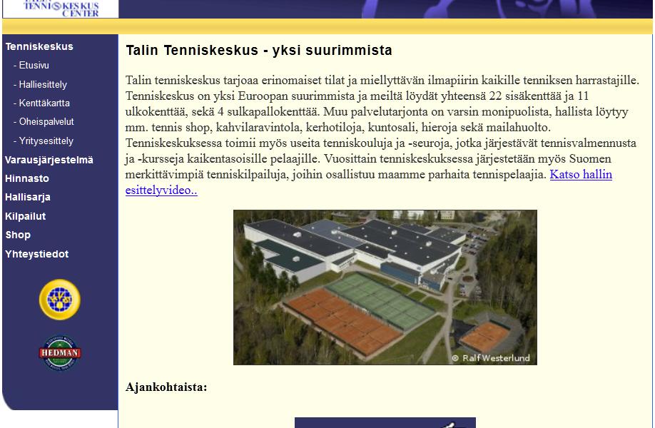 Talin Tenniskeskus kotisivut