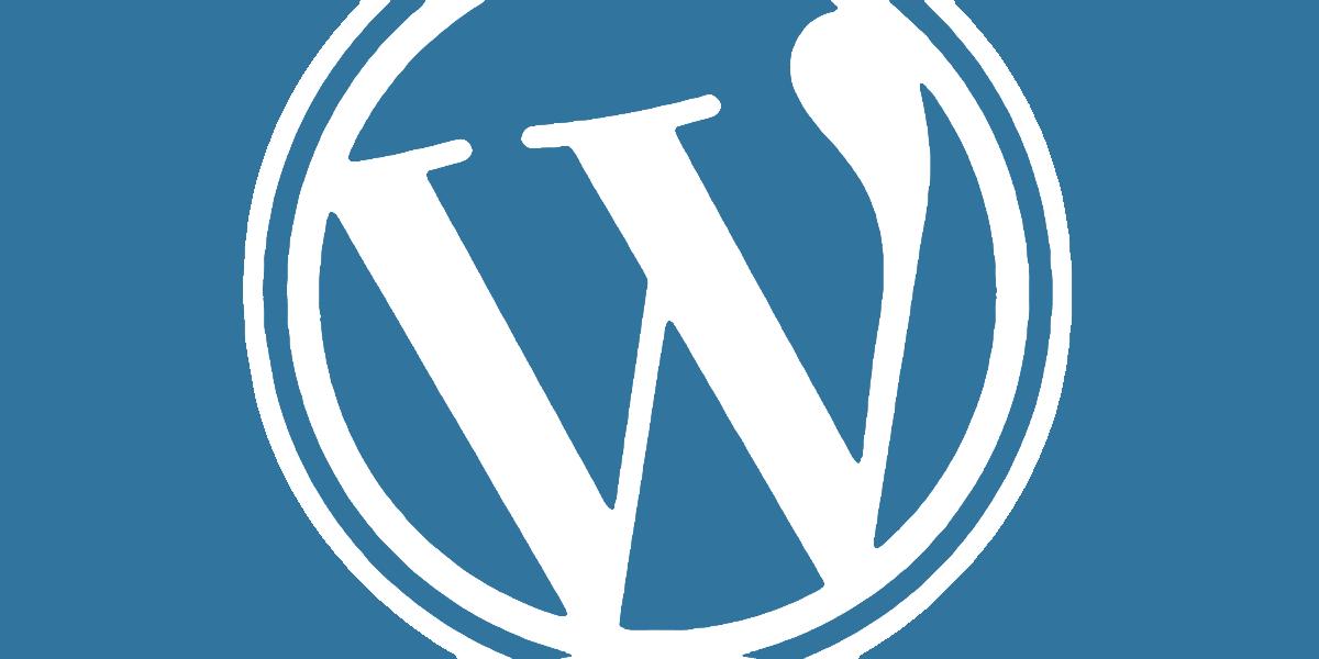 WordPress logo sinisellä taustalla