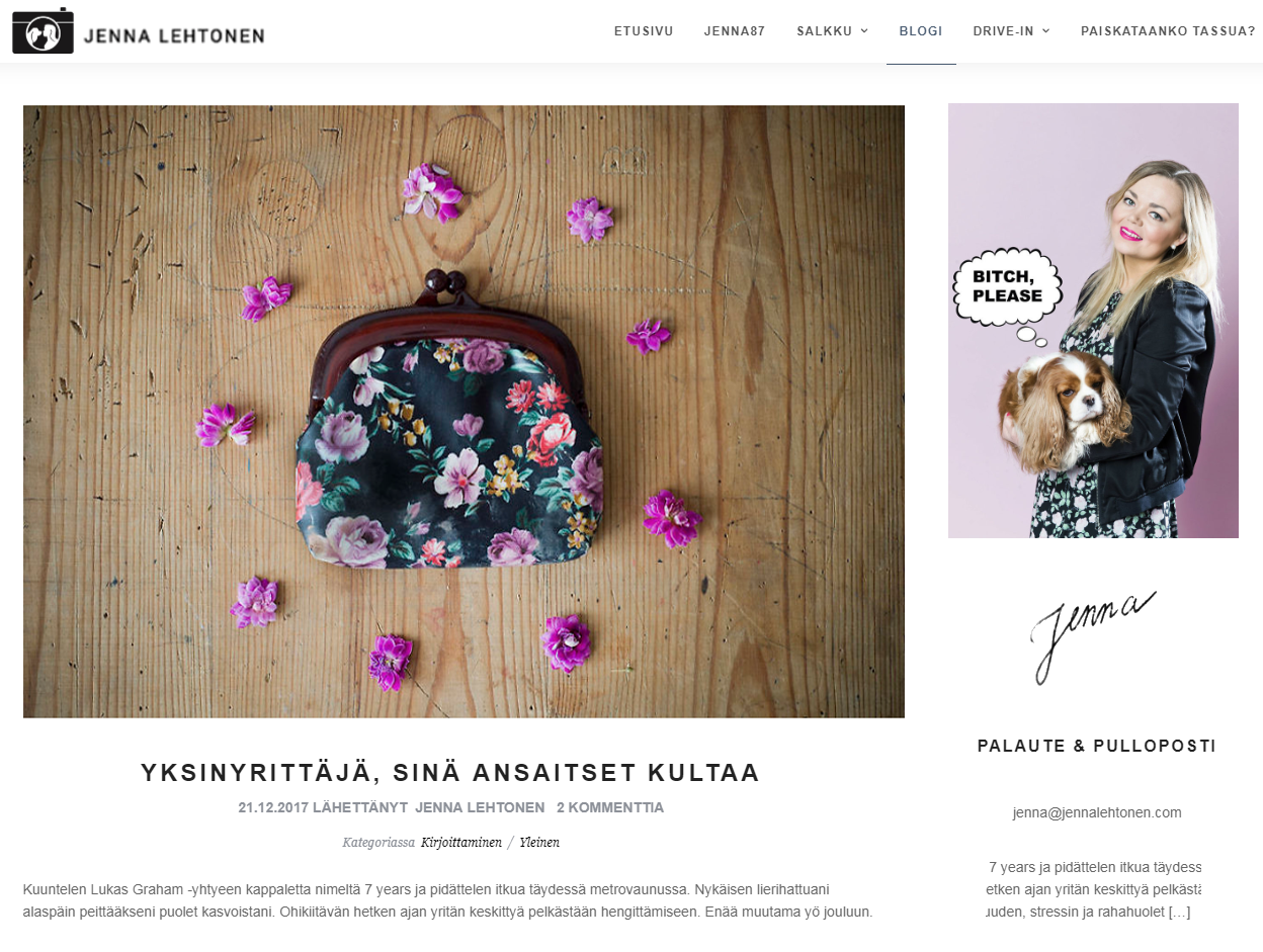 Jenna Lehtonen kotisivut ja blogi