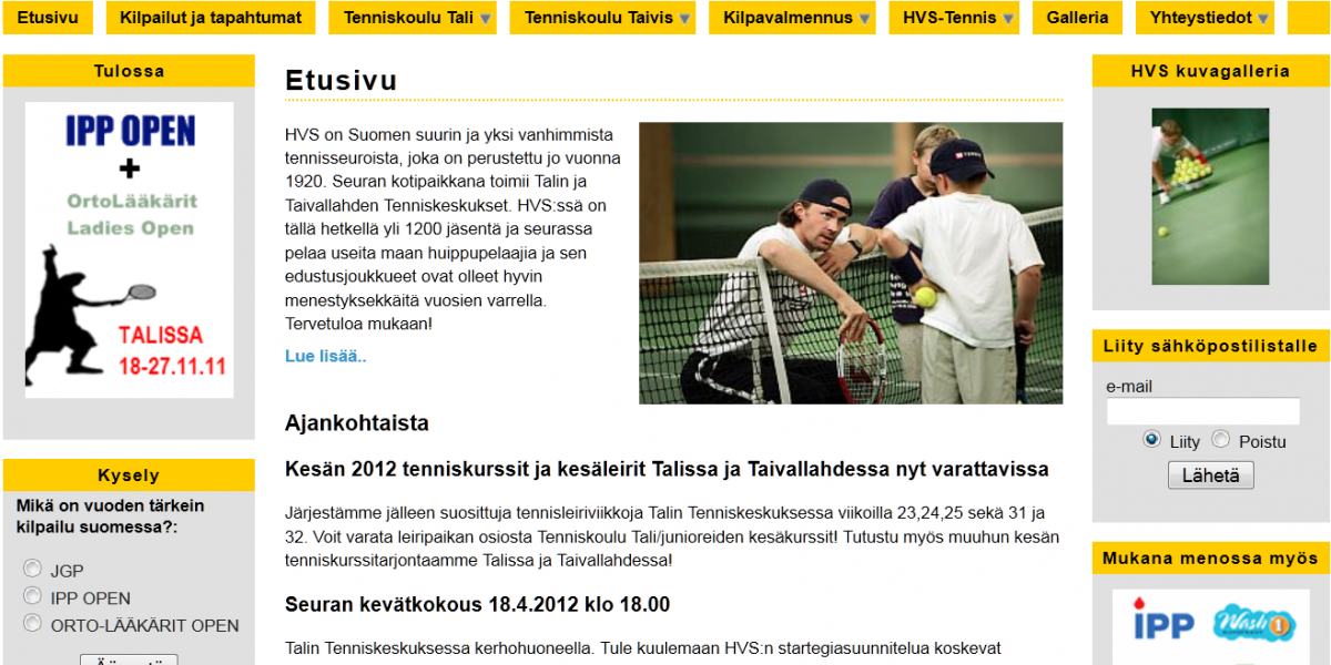 HVS-tennis nettisivut