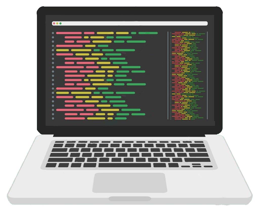 Kannettava tietokone jonka ruudulla koodia